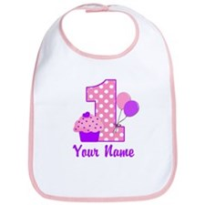 1st Birthday Purple Cupcake Bib