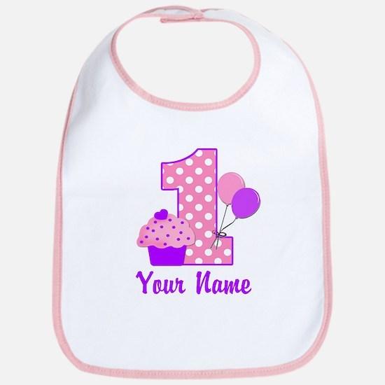 1st Birthday Purple Cupcake Bib