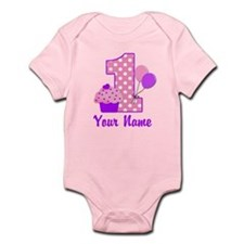 1st Birthday Purple Cupcake Body Suit