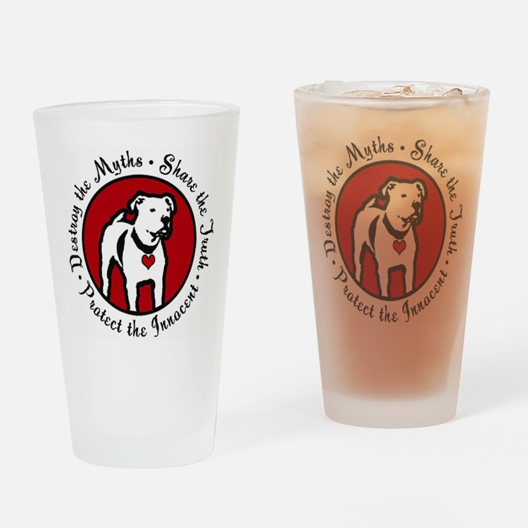 Cute Pit bull rescue Drinking Glass