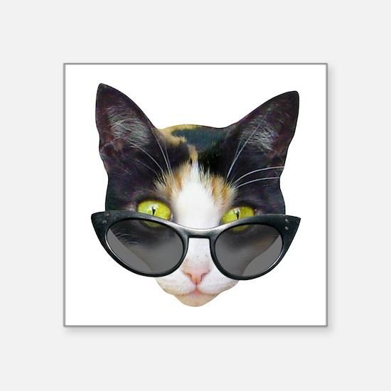 "Cat Sunglasses Square Sticker 3"" x 3"""