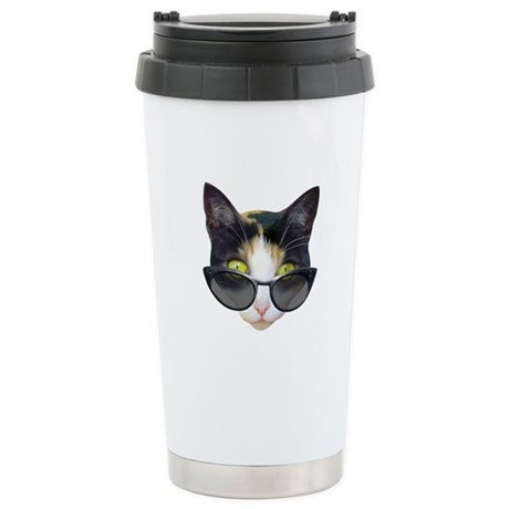 Cat Sunglasses Stainless Steel Travel Mug
