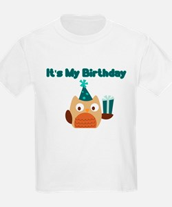 ITS MY BIRTHDAY DARK TEAL OWL T-Shirt