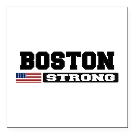 "BOSTON STRONG U.S. Flag Square Car Magnet 3"" x 3"""