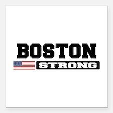 "BOSTON STRONG U.S. Flag Square Car Magnet 3"" x 3"""