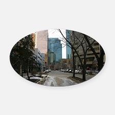 Wet Street in Downtown Edmonton Oval Car Magnet