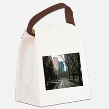 Wet Street in Downtown Edmonton Canvas Lunch Bag
