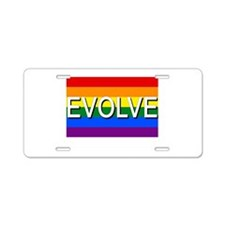 Evolve with GBLT Pride Flag Aluminum License Plate