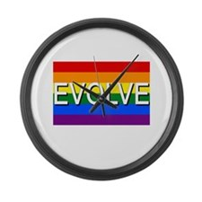 Evolve with GBLT Pride Flag Large Wall Clock