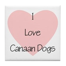 I Love Canaan Dogs Tile Coaster