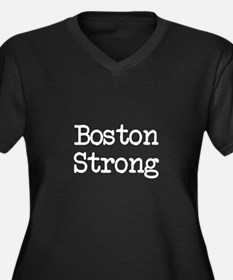 Boston Strong TW Women's Plus Size V-Neck Dark T-S