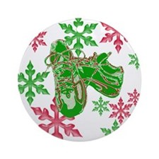 Running Shoes & Snowflakes Ornament (Round)