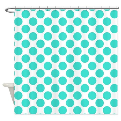 White and turquoise polka dot shower curtain by polkadotted - White and turquoise curtains ...