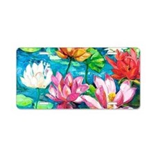 Water Lily Oil Painting Aluminum License Plate