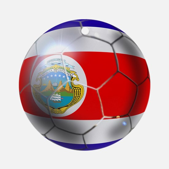 Costa Rica Soccer Ball Ornament (Round)