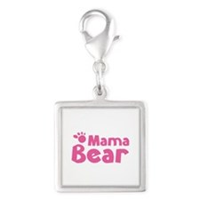 Mama Bear Silver Square Charm