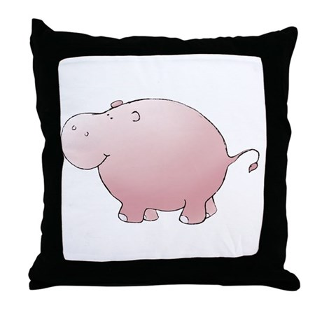 Pink Hippo Throw Pillow