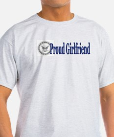 Proud Girlfriend (Navy) Ash Grey T-Shirt