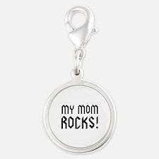 My Mom Rocks! Silver Round Charm