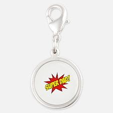 Super Dad! Silver Round Charm
