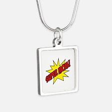 Super Mom! Silver Square Necklace