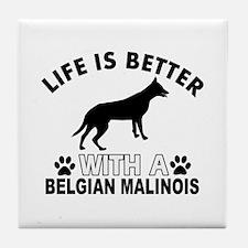 Belgian Malinois vector designs Tile Coaster