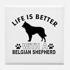 Belgian Shepherd vector designs Tile Coaster