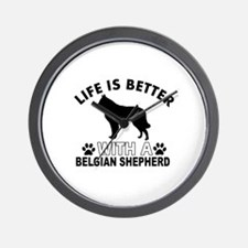 Belgian Shepherd vector designs Wall Clock