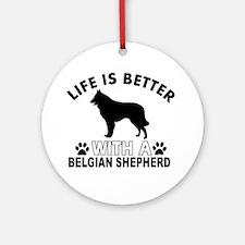 Belgian Shepherd vector designs Ornament (Round)