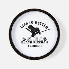 Black Russian Terrier vector designs Wall Clock