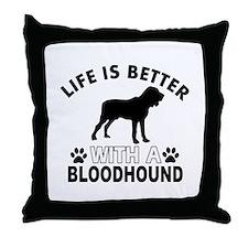 Bloodhound vector designs Throw Pillow