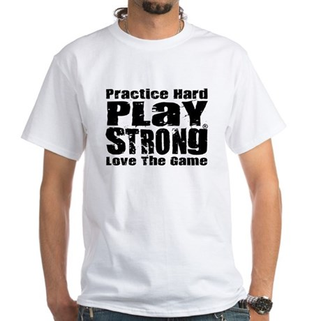 Play strong workout white t shirt play strong workout t for Design your own workout shirt