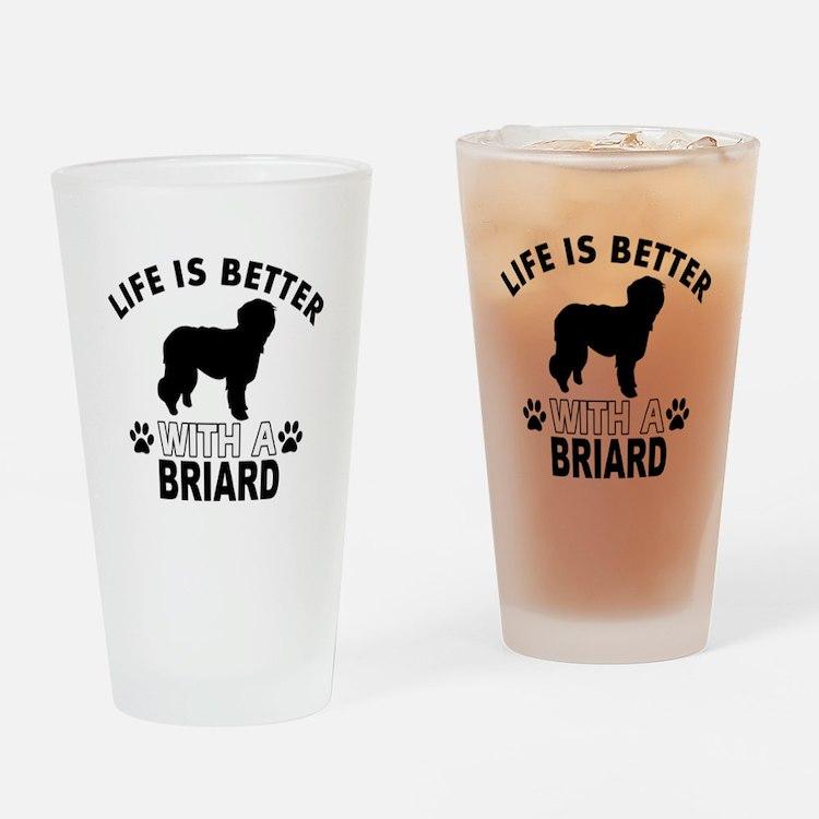 Briard vector designs Drinking Glass