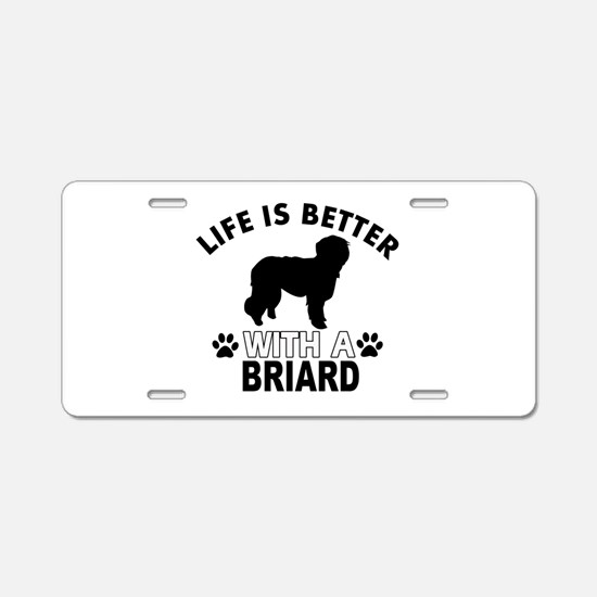Briard vector designs Aluminum License Plate