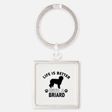Briard vector designs Square Keychain