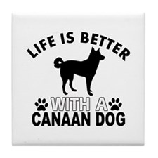 Canaan Dog vector designs Tile Coaster