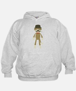 Sock monkey with Mustache and Top hat Hoodie