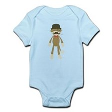 Sock monkey with Mustache and Top hat Body Suit