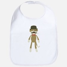 Sock monkey with Mustache and Top hat Bib
