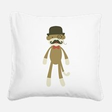 Sock monkey with Mustache and Top hat Square Canva
