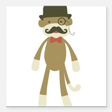 Sock monkey with Mustache and Top hat Square Car M