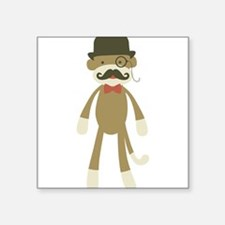 Sock monkey with Mustache and Top hat Sticker