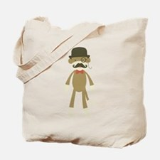 Sock monkey with Mustache and Top hat Tote Bag