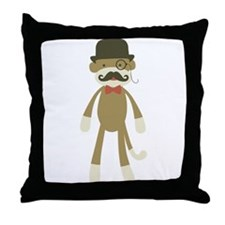 Sock monkey with Mustache and Top hat Throw Pillow