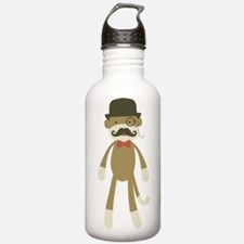 Sock monkey with Mustache and Top hat Water Bottle