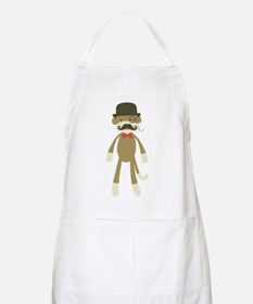 Sock monkey with Mustache and Top hat Apron