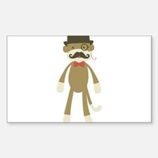 Sock monkey with Mustache and Top hat Decal