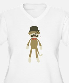 Sock monkey with Mustache and Top hat Plus Size T-