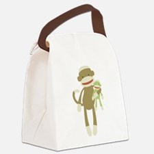 Sock monkey with baby Canvas Lunch Bag