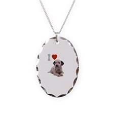 I Love Dalmatian Necklace Oval Charm